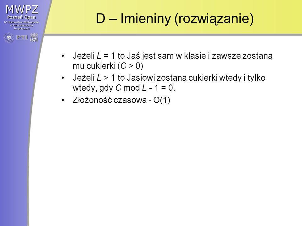 D – Imieniny (rozwiązanie)