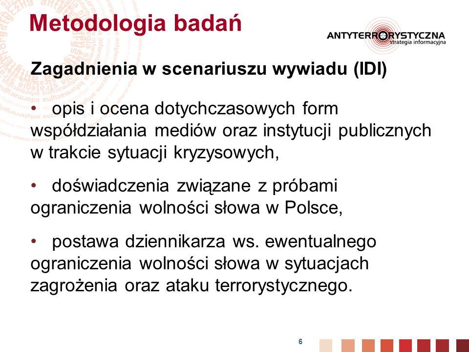 Metodologia badań Zagadnienia w scenariuszu wywiadu (IDI)