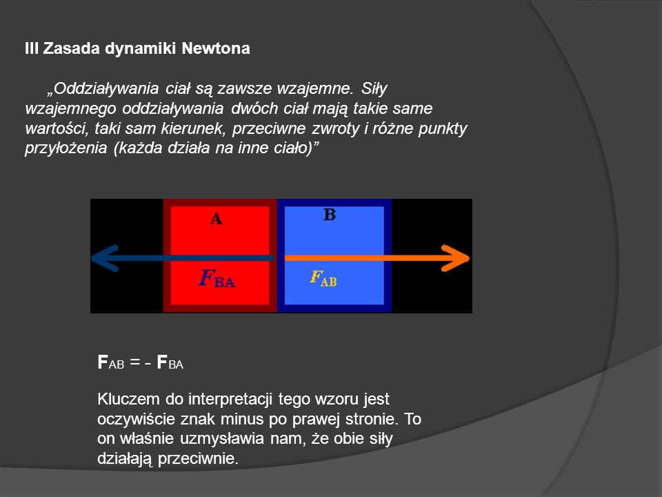 FAB = - FBA III Zasada dynamiki Newtona