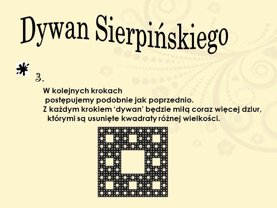 Dywan Sierpińskiego 3. W kolejnych krokach postępujemy podobnie jak poprzednio. Z każdym krokiem 'dywan' będzie miłą coraz więcej dziur,