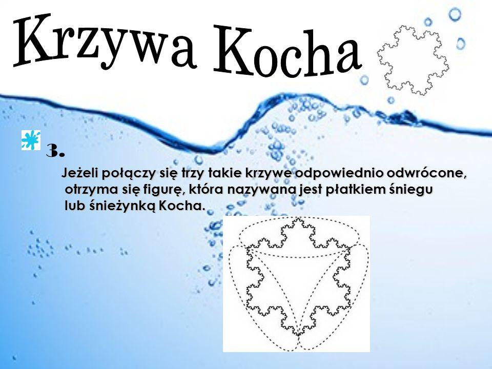 Krzywa Kocha 3. Jeżeli połączy się trzy takie krzywe odpowiednio odwrócone, otrzyma się figurę, która nazywana jest płatkiem śniegu.