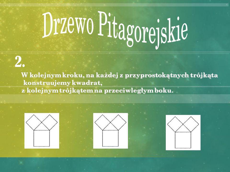 Drzewo Pitagorejskie 2. W kolejnym kroku, na każdej z przyprostokątnych trójkąta. konstruujemy kwadrat,