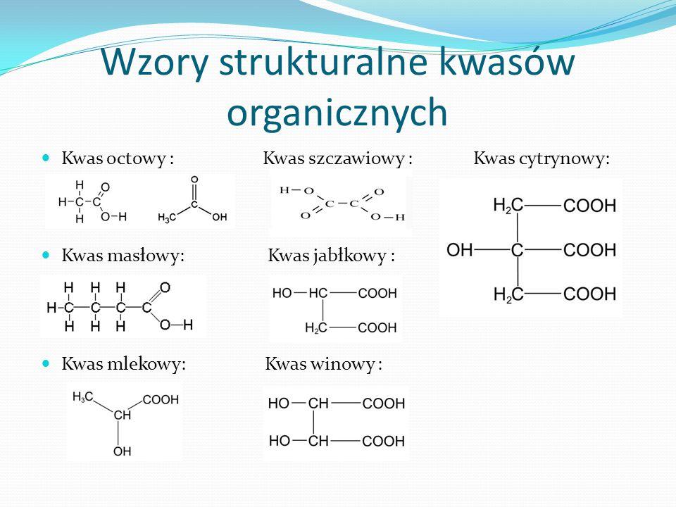 Wzory strukturalne kwasów organicznych