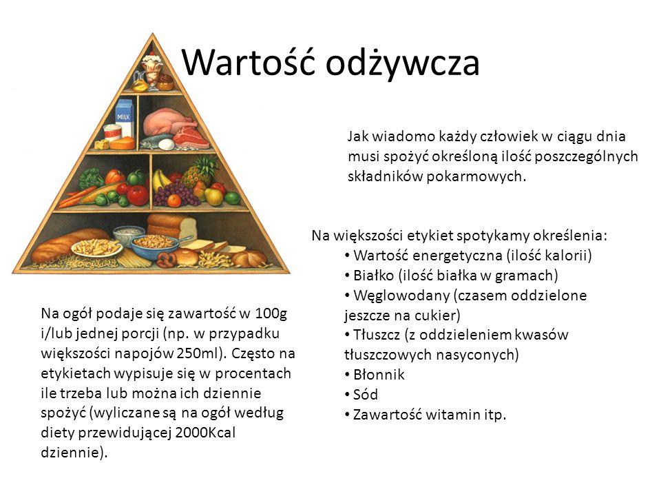 Wartość odżywcza Jak wiadomo każdy człowiek w ciągu dnia musi spożyć określoną ilość poszczególnych składników pokarmowych.