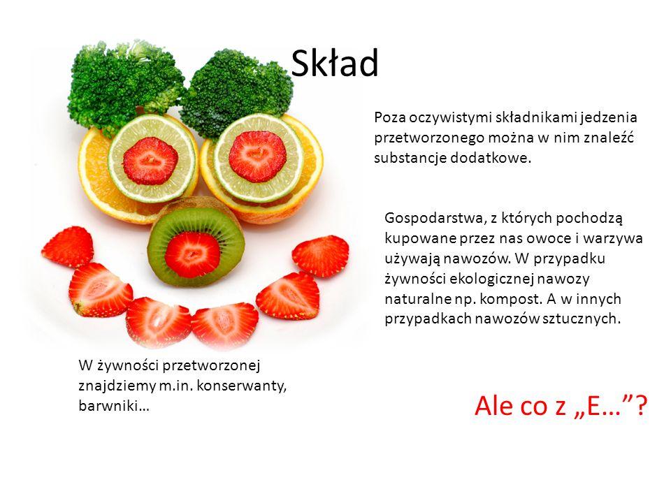 SkładPoza oczywistymi składnikami jedzenia przetworzonego można w nim znaleźć substancje dodatkowe.