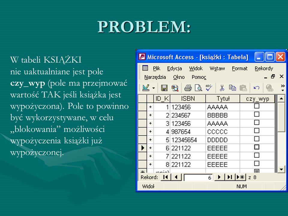 PROBLEM: W tabeli KSIĄŻKI nie uaktualniane jest pole