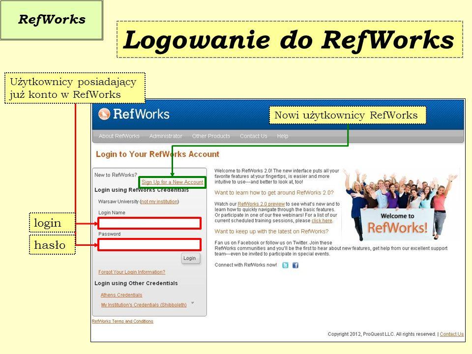 Logowanie do RefWorks RefWorks login hasło