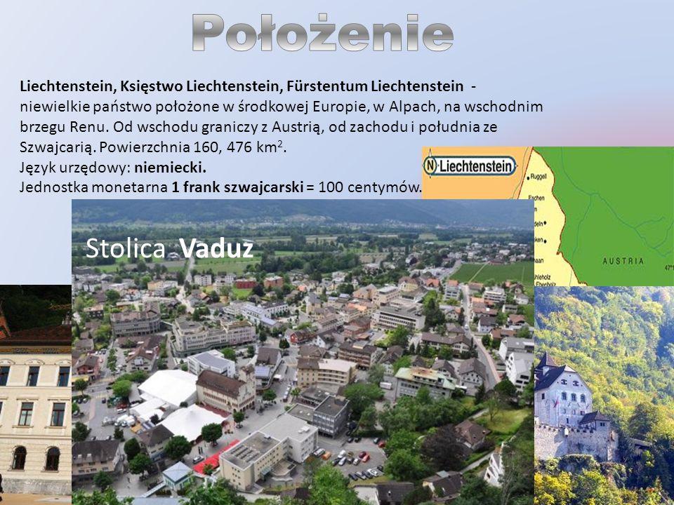 Położenie Stolica Vaduz