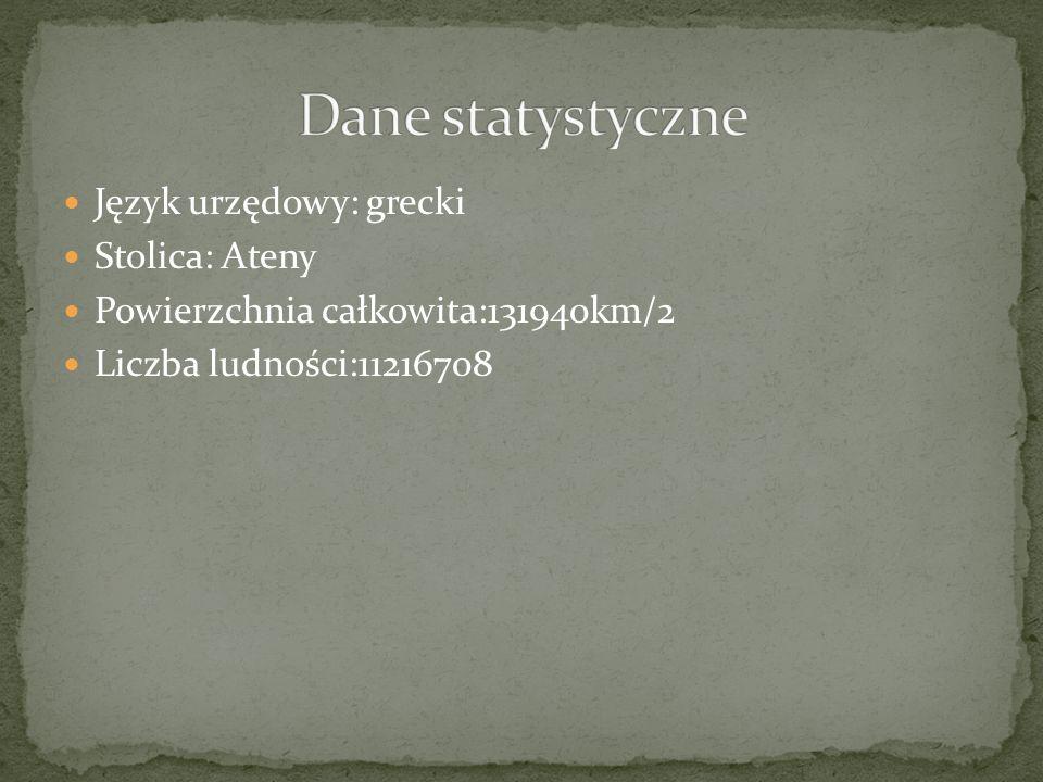 Dane statystyczne Język urzędowy: grecki Stolica: Ateny