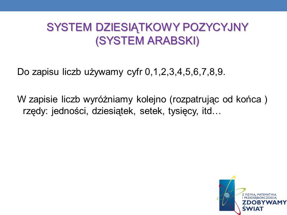 SYSTEM DZIESIĄTKOWY POZYCYJNY (SYSTEM ARABSKI)
