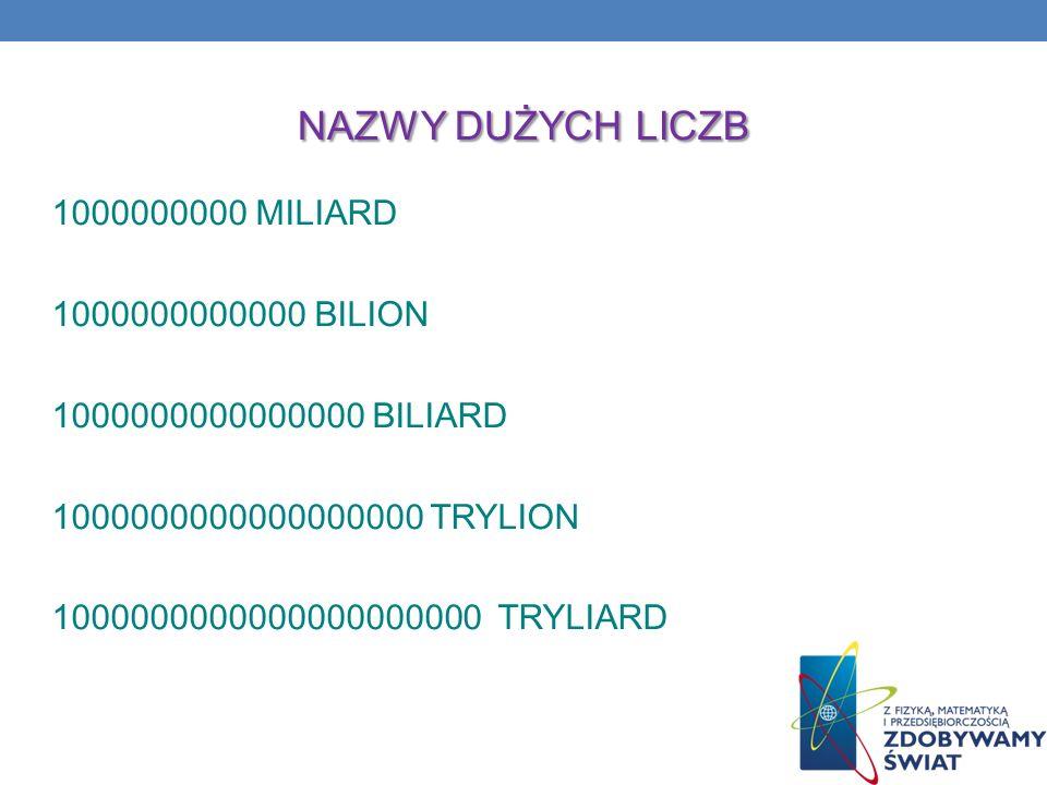 NAZWY DUŻYCH LICZB 1000000000 MILIARD 1000000000000 BILION