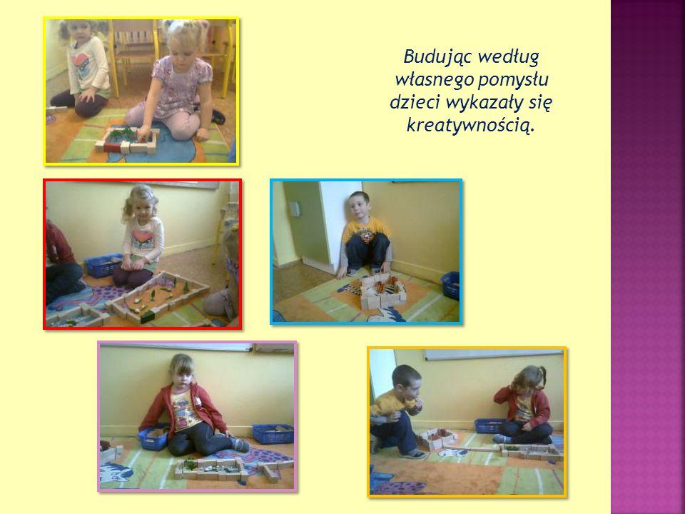 Budując według własnego pomysłu dzieci wykazały się kreatywnością.