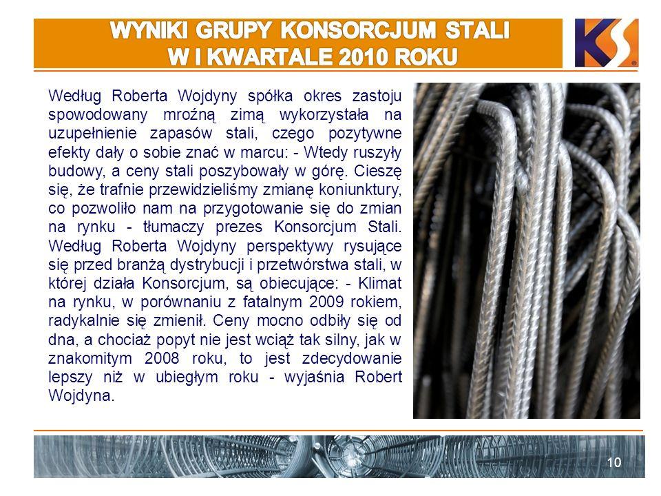 WYNIKI GRUPY KONSORCJUM STALI W I KWARTALE 2010 ROKU