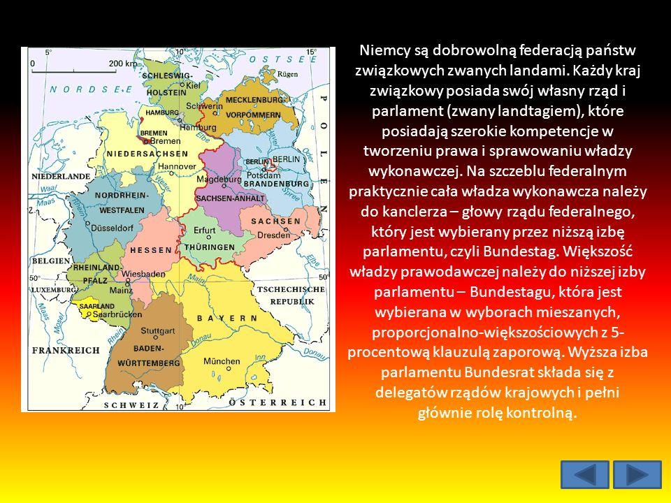 Niemcy są dobrowolną federacją państw związkowych zwanych landami