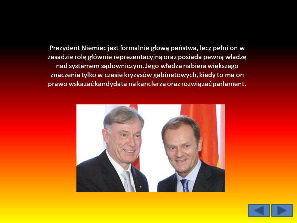 Prezydent Niemiec jest formalnie głową państwa, lecz pełni on w zasadzie rolę głównie reprezentacyjną oraz posiada pewną władzę nad systemem sądowniczym.