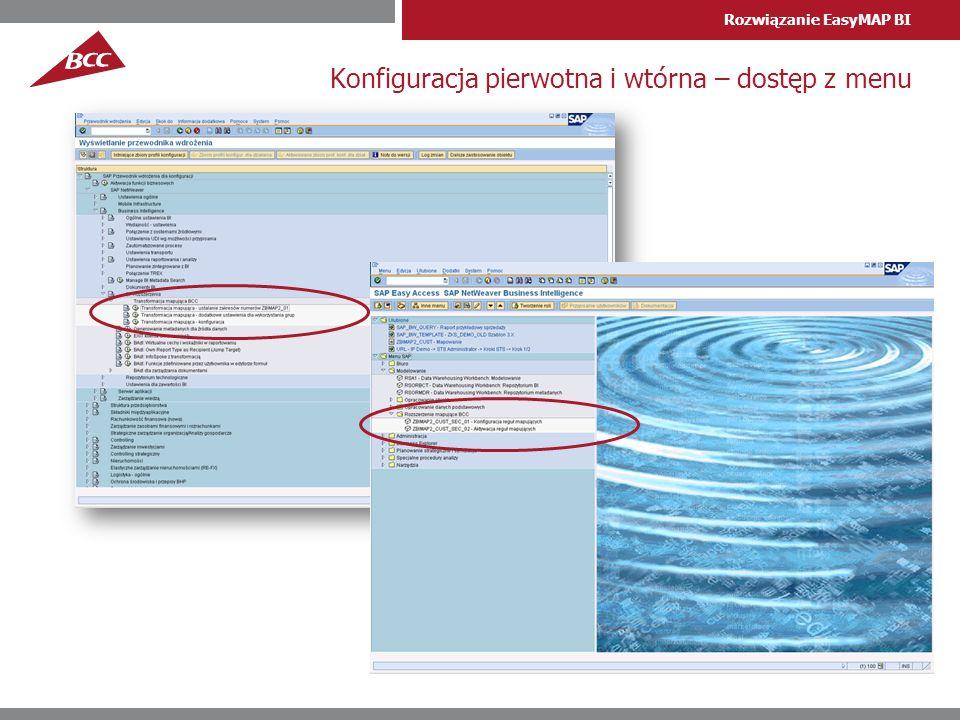 Konfiguracja pierwotna i wtórna – dostęp z menu