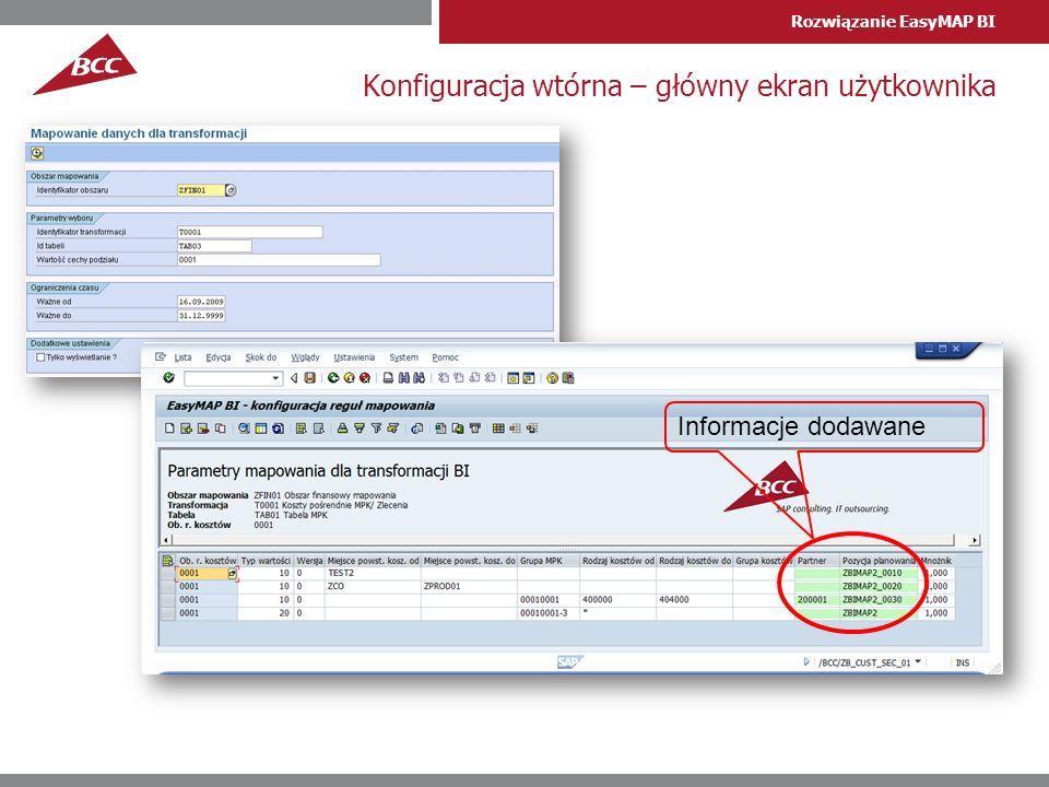 Konfiguracja wtórna – główny ekran użytkownika