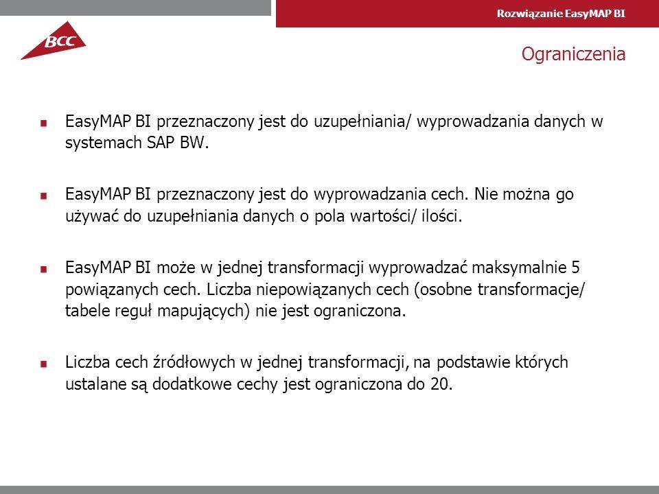 Ograniczenia EasyMAP BI przeznaczony jest do uzupełniania/ wyprowadzania danych w systemach SAP BW.