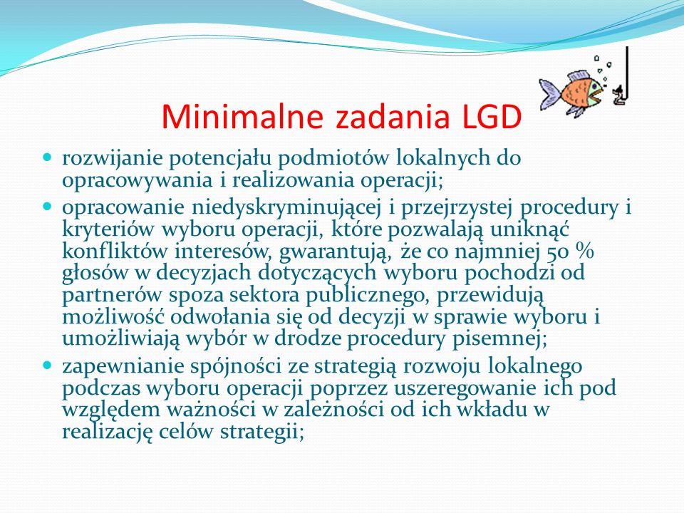 Minimalne zadania LGD rozwijanie potencjału podmiotów lokalnych do opracowywania i realizowania operacji;