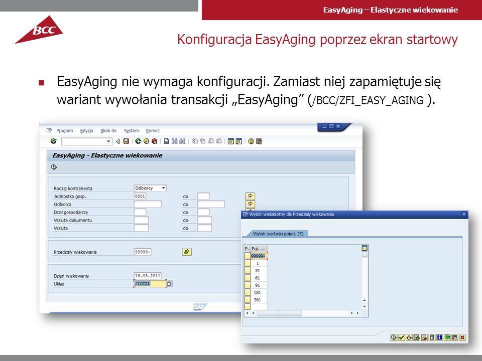 Konfiguracja EasyAging poprzez ekran startowy