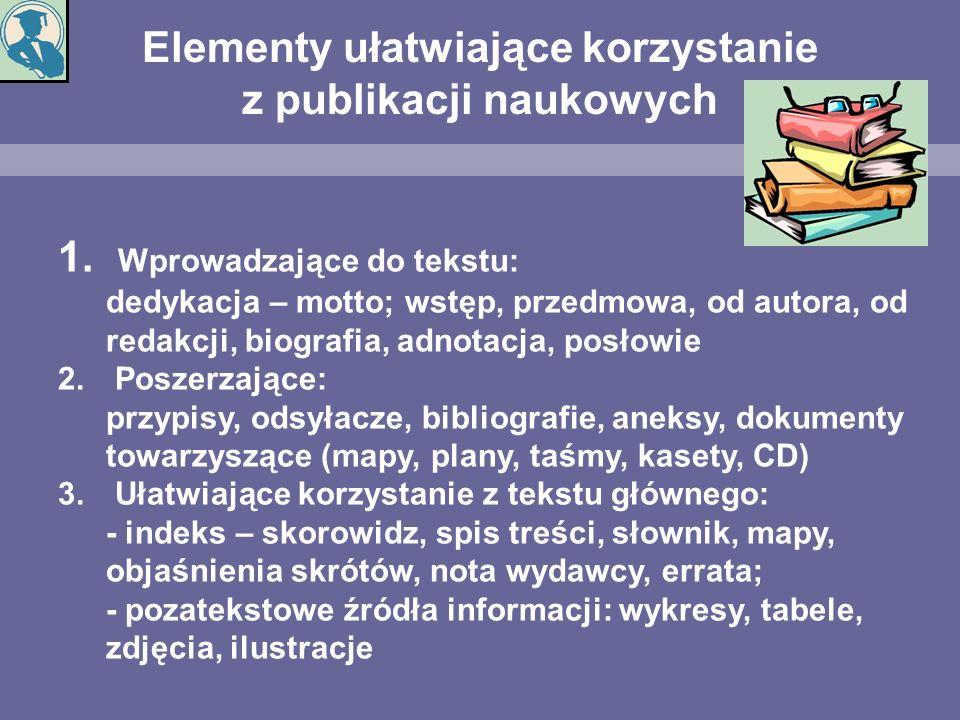 Elementy ułatwiające korzystanie z publikacji naukowych