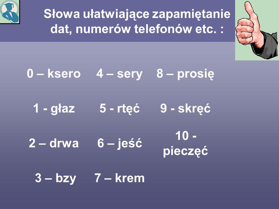Słowa ułatwiające zapamiętanie dat, numerów telefonów etc. :