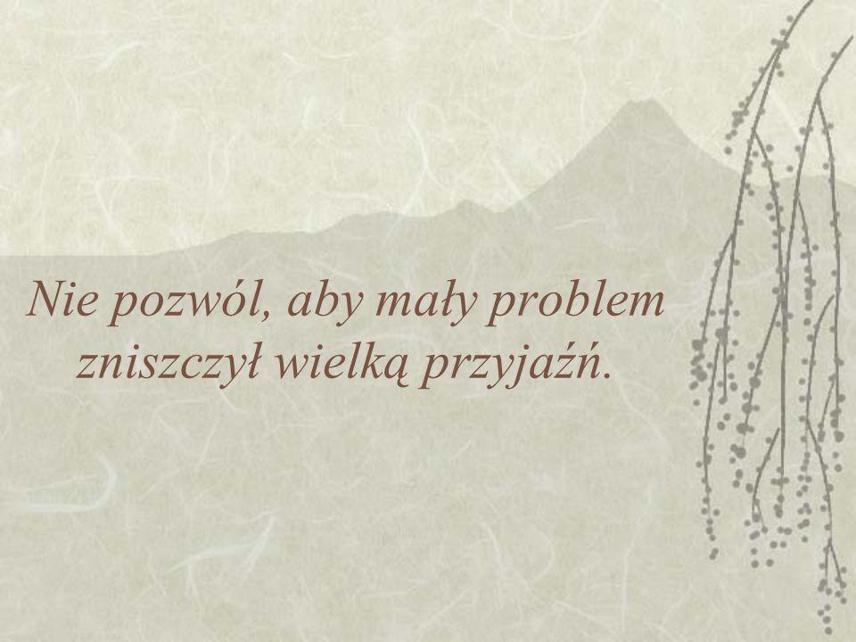 Nie pozwól, aby mały problem zniszczył wielką przyjaźń.