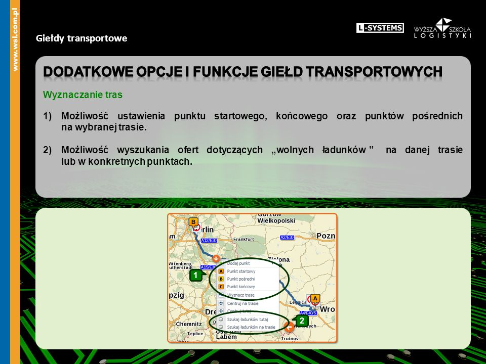 Dodatkowe OPCJE I funkcje giełd transportowych