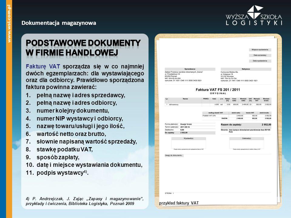 Podstawowe dokumenty W firmie handlowej Dokumentacja magazynowa