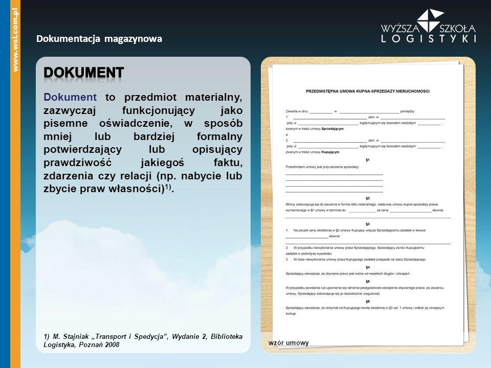 Dokument Dokumentacja magazynowa