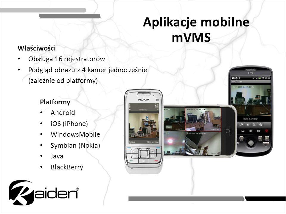 Aplikacje mobilne mVMS Właściwości Obsługa 16 rejestratorów