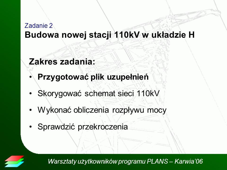 Zadanie 2 Budowa nowej stacji 110kV w układzie H