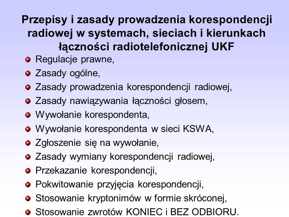 Przepisy i zasady prowadzenia korespondencji radiowej w systemach, sieciach i kierunkach łączności radiotelefonicznej UKF