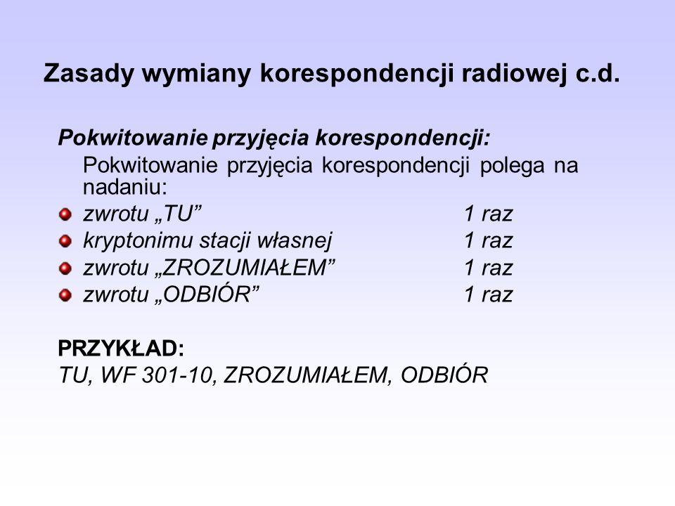 Zasady wymiany korespondencji radiowej c.d.