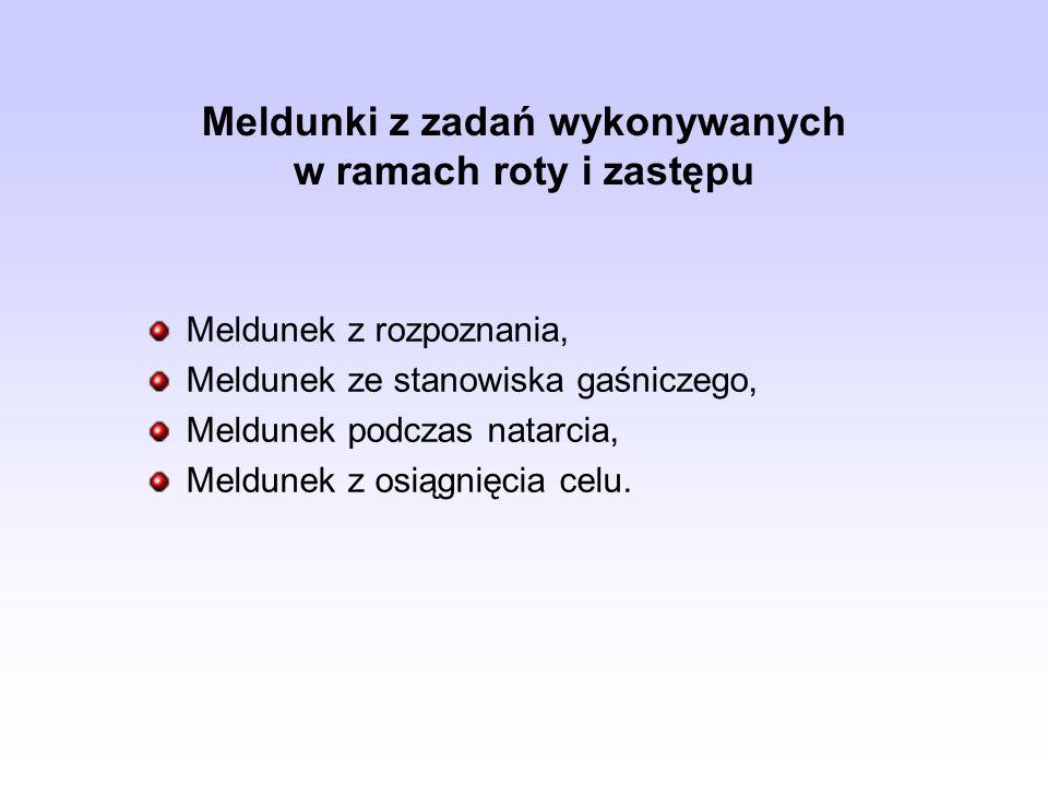 Meldunki z zadań wykonywanych w ramach roty i zastępu