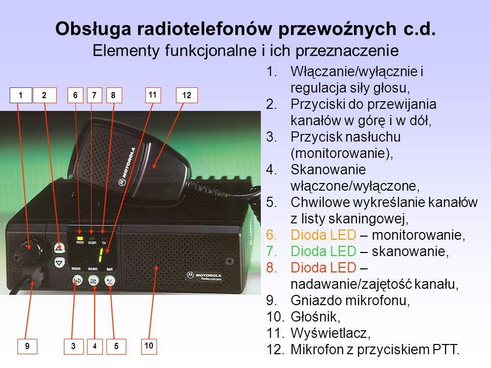 Obsługa radiotelefonów przewoźnych c. d