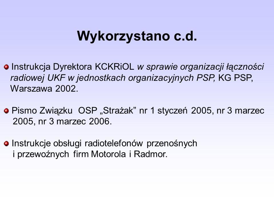 Wykorzystano c.d. Instrukcja Dyrektora KCKRiOL w sprawie organizacji łączności. radiowej UKF w jednostkach organizacyjnych PSP, KG PSP,