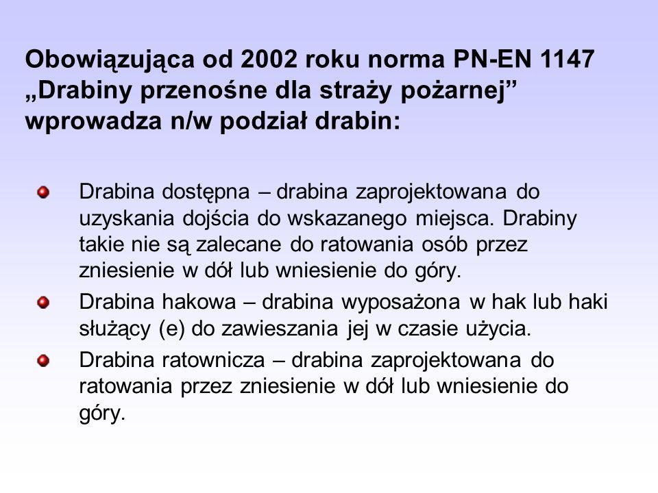 """Obowiązująca od 2002 roku norma PN-EN 1147 """"Drabiny przenośne dla straży pożarnej wprowadza n/w podział drabin:"""