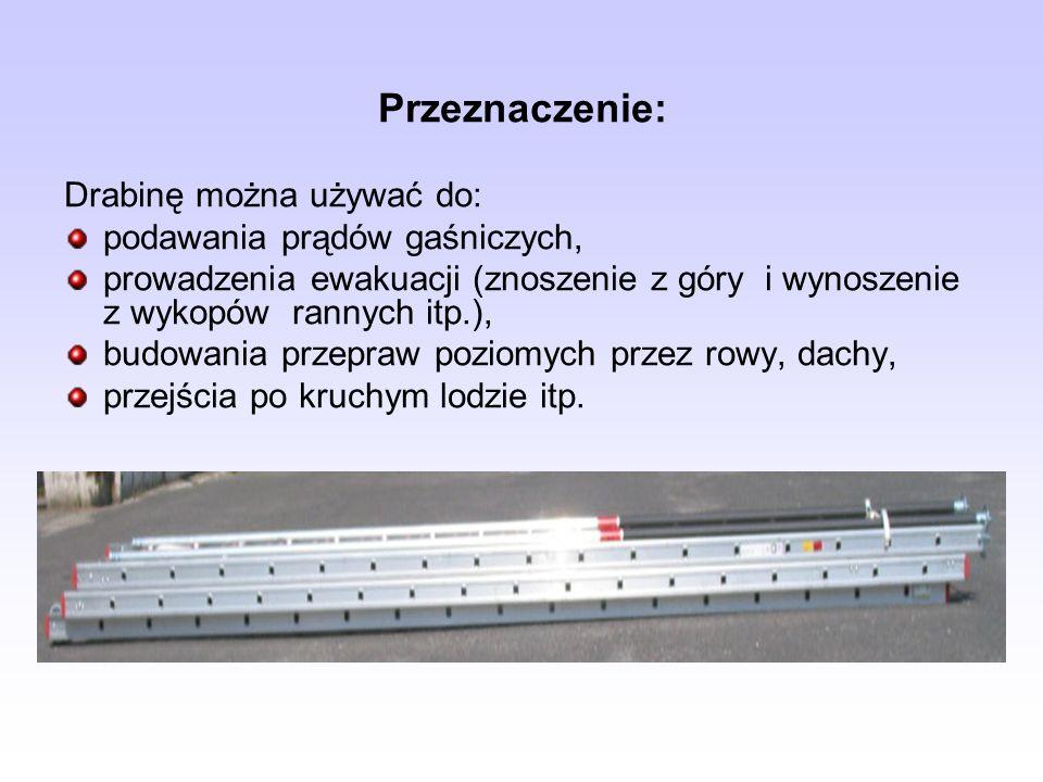 Przeznaczenie: Drabinę można używać do: podawania prądów gaśniczych,