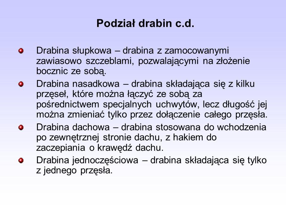 Podział drabin c.d.Drabina słupkowa – drabina z zamocowanymi zawiasowo szczeblami, pozwalającymi na złożenie bocznic ze sobą.