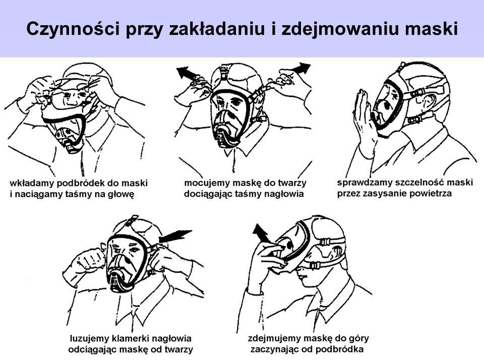 Czynności przy zakładaniu i zdejmowaniu maski