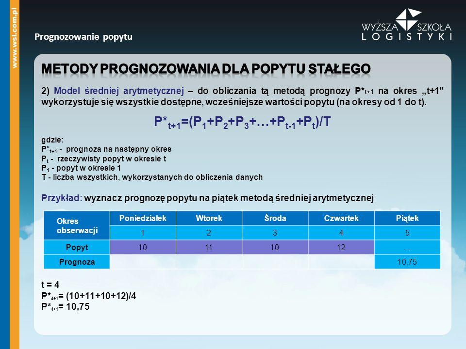 P*t+1=(P1+P2+P3+…+Pt-1+Pt)/T