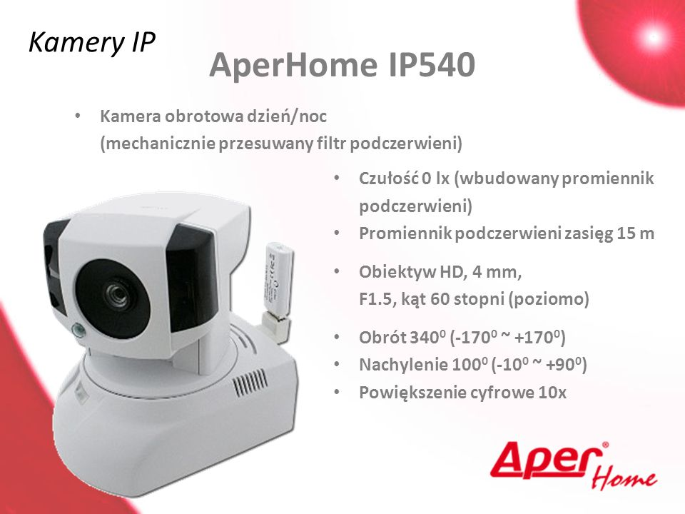 AperHome IP540 Kamery IP Kamera obrotowa dzień/noc
