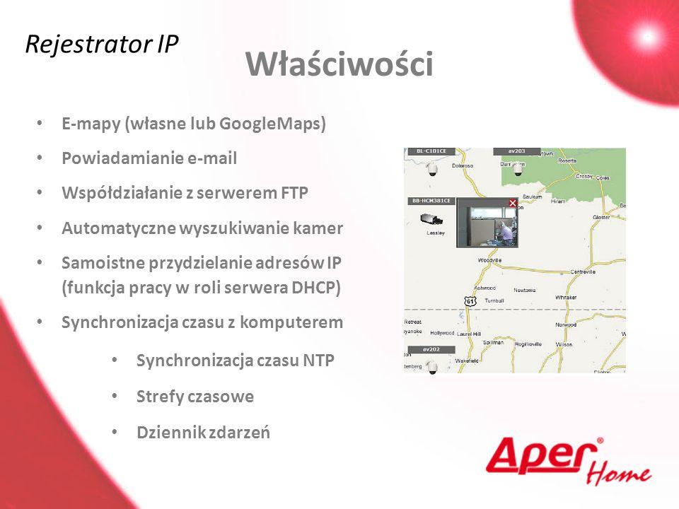 Właściwości Rejestrator IP E-mapy (własne lub GoogleMaps)