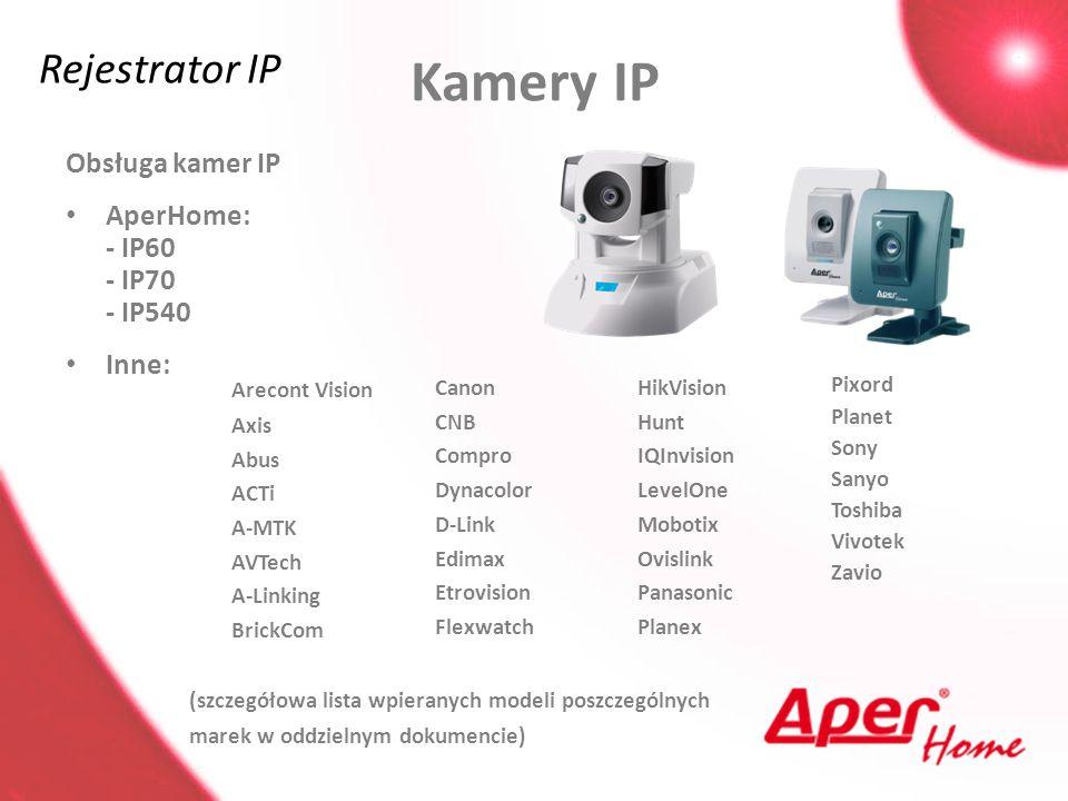 Kamery IP Rejestrator IP Obsługa kamer IP AperHome: - IP60 - IP70