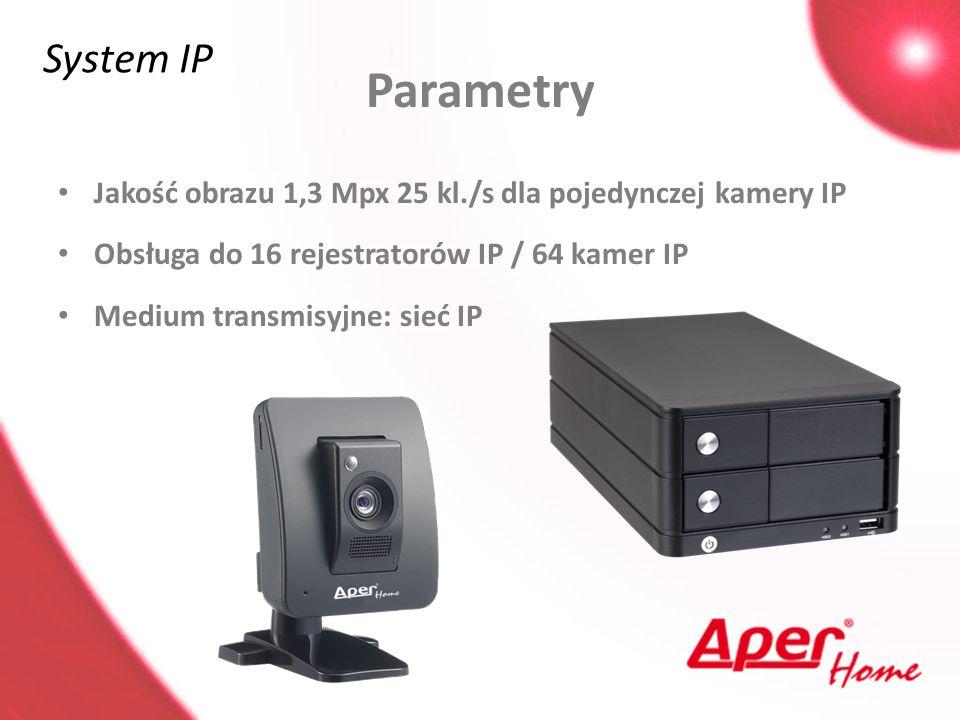 System IP Parametry. Jakość obrazu 1,3 Mpx 25 kl./s dla pojedynczej kamery IP. Obsługa do 16 rejestratorów IP / 64 kamer IP.