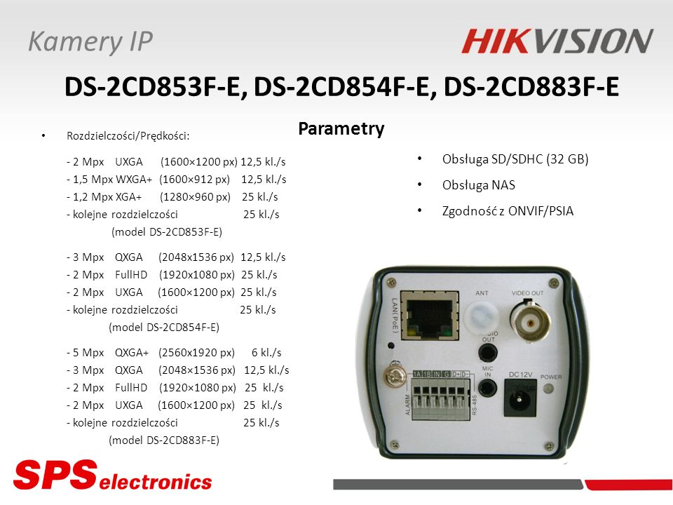 DS-2CD853F-E, DS-2CD854F-E, DS-2CD883F-E Parametry