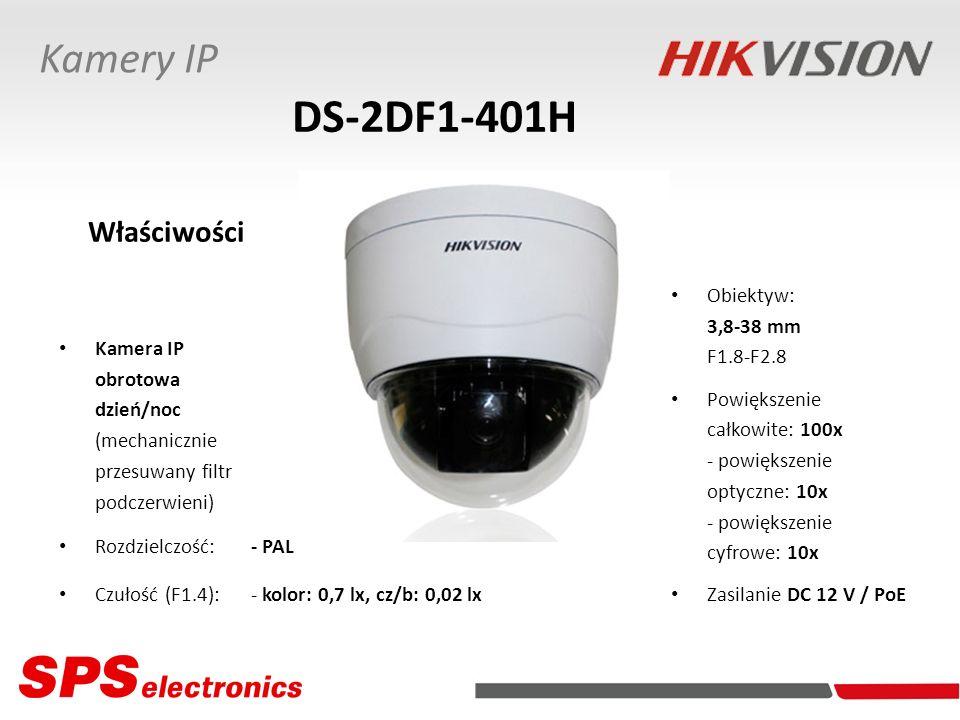 DS-2DF1-401H Kamery IP Właściwości Obiektyw: 3,8-38 mm F1.8-F2.8