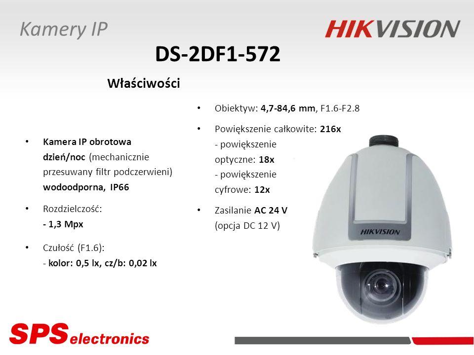 DS-2DF1-572 Właściwości Kamery IP Obiektyw: 4,7-84,6 mm, F1.6-F2.8