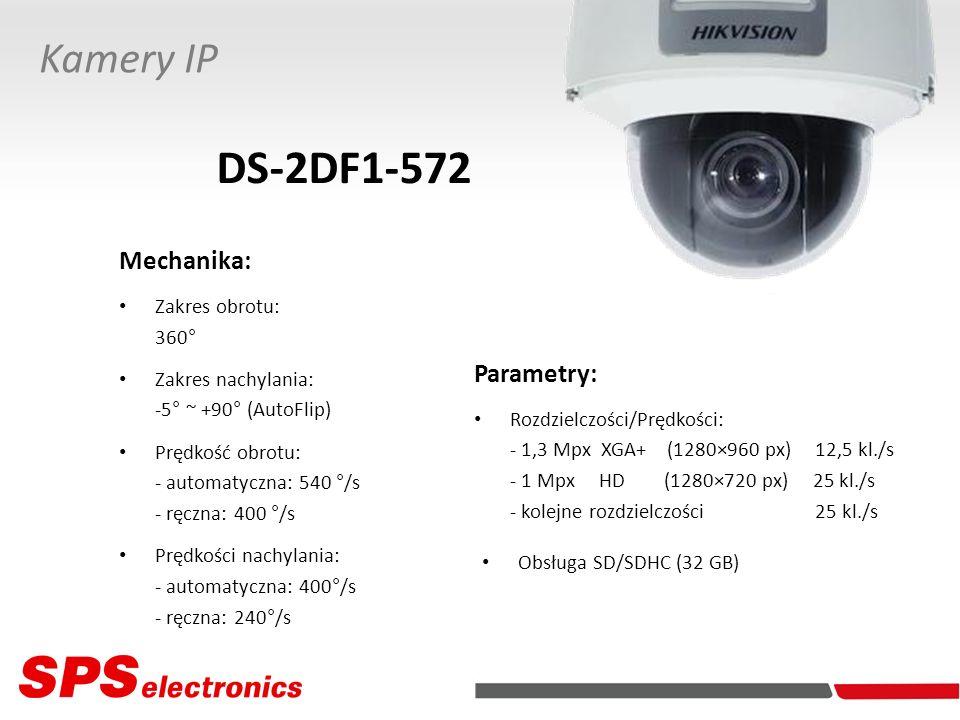 DS-2DF1-572 Kamery IP Mechanika: Parametry: Zakres obrotu: 360°